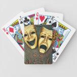 Máscaras de oro de la comedia y de la tragedia en  barajas de cartas