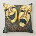 Máscaras de oro de la comedia y de la tragedia en  cojin