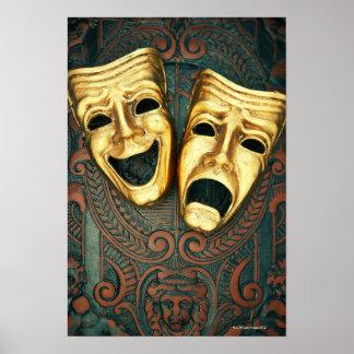 Máscaras de oro de la comedia y de la tragedia en  póster