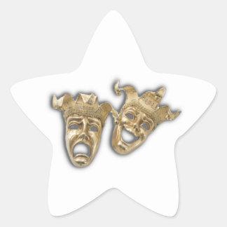Máscaras de oro de la tragedia de la comedia del pegatina en forma de estrella