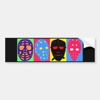 Máscaras del arte pop del portero del hockey pegatina de parachoque