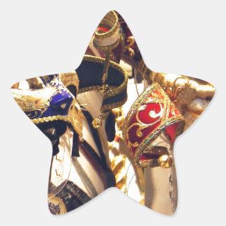 Máscaras del carnaval de Venecia Calcomanías Forma De Estrellaes Personalizadas