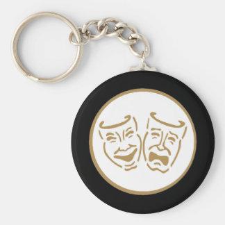 Máscaras del drama (blanco y oro) llavero redondo tipo pin