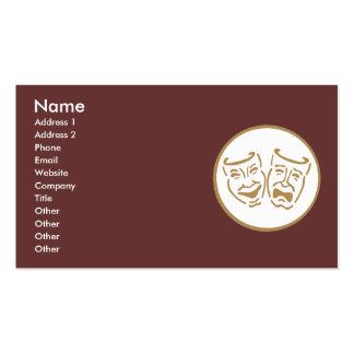 Máscaras del drama (blanco y oro) tarjetas de visita