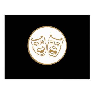 Máscaras del drama (blanco y oro) postal
