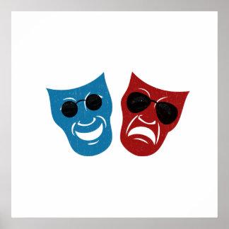 Máscaras del drama con las gafas de sol impresiones