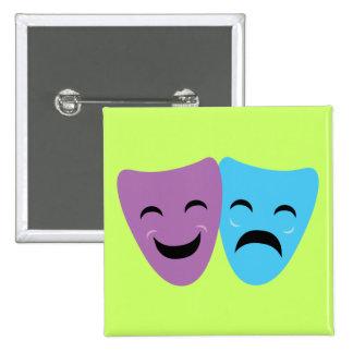 Máscaras del drama pin cuadrado