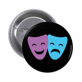 Máscaras del drama pin redondo de 2 pulgadas
