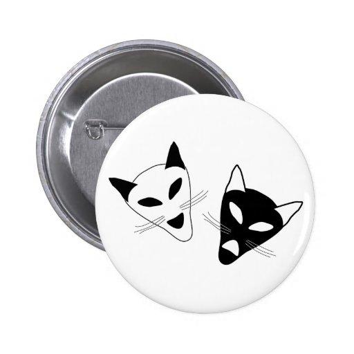 Máscaras del gato del drama pins