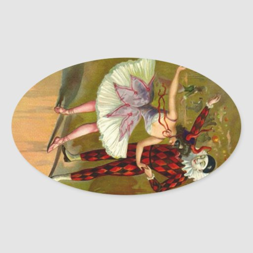 Máscaras del Harlequin del fiesta del traje de Pegatina Ovalada