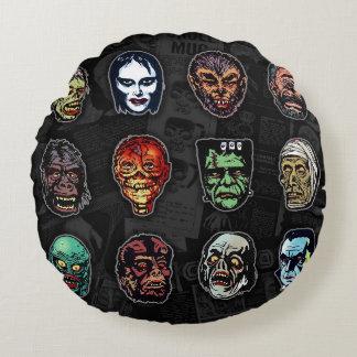 Máscaras del monstruo de la película de terror cojín redondo