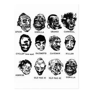 Máscaras del monstruo del vintage del kitsch con tarjetas postales