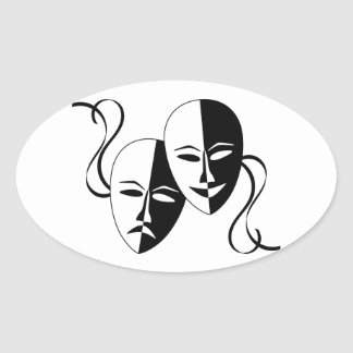 Máscaras del teatro de la comedia y de la pegatina ovalada
