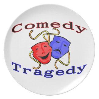 Máscaras del teatro de la tragedia de la comedia plato para fiesta