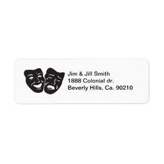 Máscaras del teatro del drama de la tragedia de la etiquetas de remite