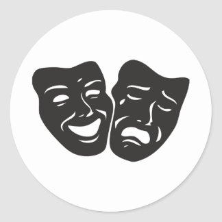 Máscaras del teatro del drama de la tragedia de la pegatina redonda