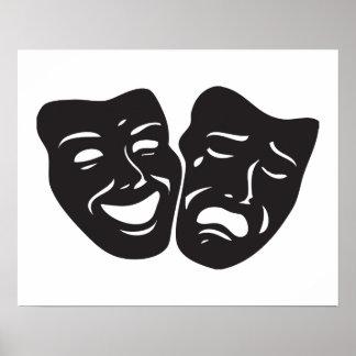 Máscaras del teatro del drama de la tragedia de la póster
