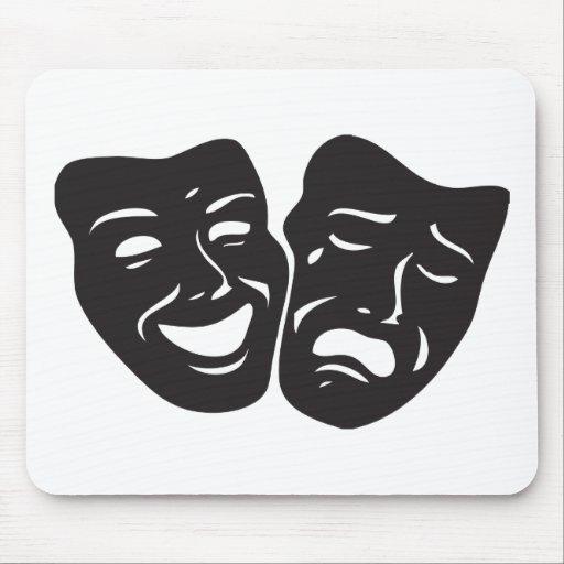 Máscaras del teatro del drama de la tragedia de la tapetes de ratón