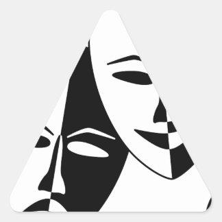 Máscaras del teatro pegatina triangular