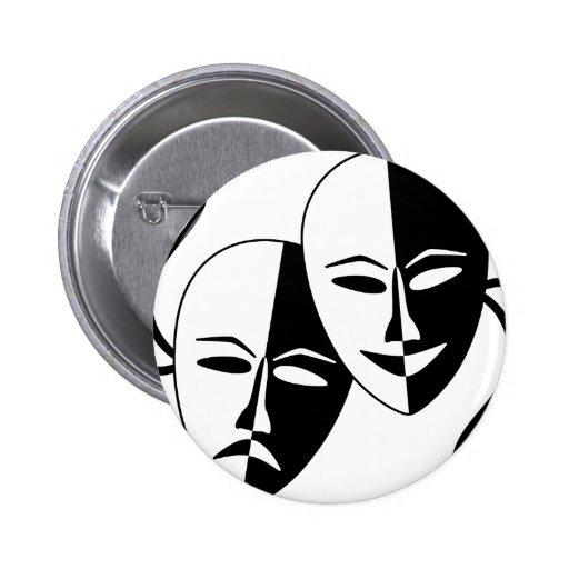 Máscaras del teatro pin redondo 5 cm