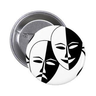 Máscaras del teatro pin redondo de 2 pulgadas