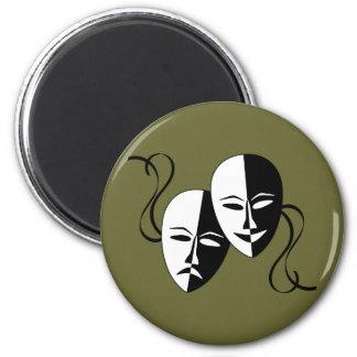 Máscaras del Thespian Imán Redondo 5 Cm