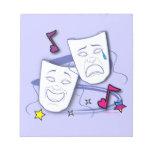 Máscaras estilizadas del drama de la comedia y de  bloc