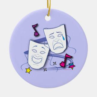 Máscaras estilizadas del drama de la comedia y de adorno redondo de cerámica