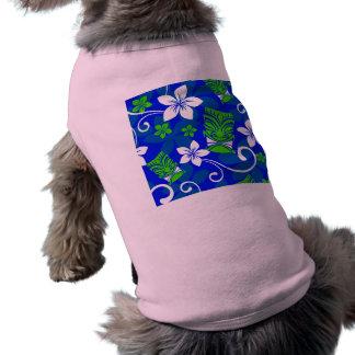 Máscaras florales de Tiki de la isla azul Camisetas De Mascota
