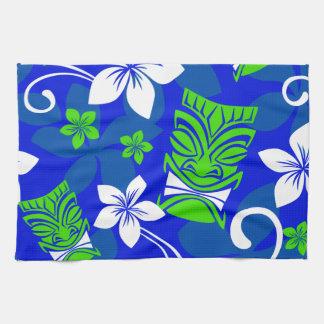 Máscaras florales de Tiki de la isla azul Toalla De Cocina