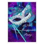 Máscaras púrpuras azules del trullo del fiesta de  invitacion personalizada