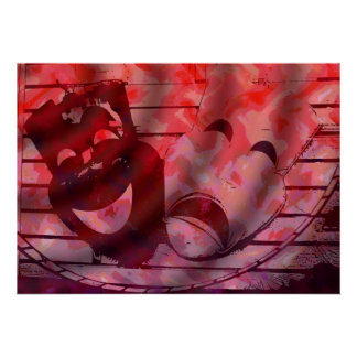 máscaras rojas del teatro poster