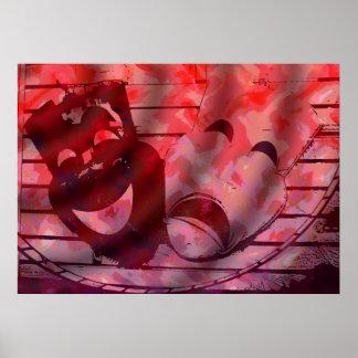 máscaras rojas del teatro póster