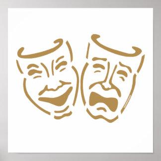 Máscaras simples del drama impresiones