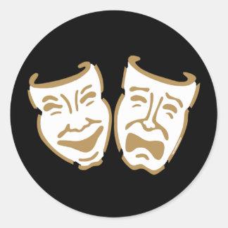 Máscaras simples del drama pegatina redonda