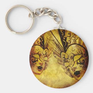Máscaras venecianas de oro del vintage llavero redondo tipo pin