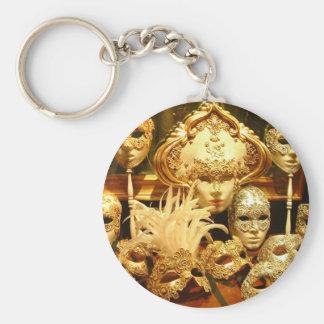 Máscaras venecianas del carnaval llavero redondo tipo pin
