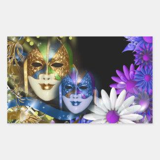 Máscaras venecianas del quinceanera de la rectangular pegatinas