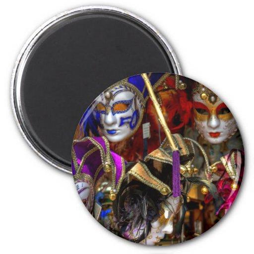 Máscaras venecianas imán redondo 5 cm