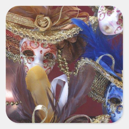 máscaras venecianas miniatura pegatina cuadrada