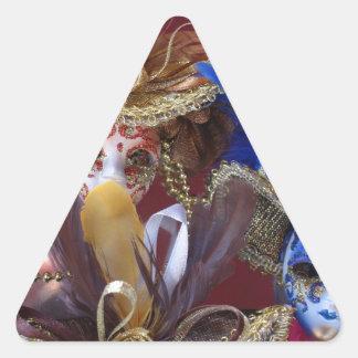 máscaras venecianas miniatura pegatina triangular