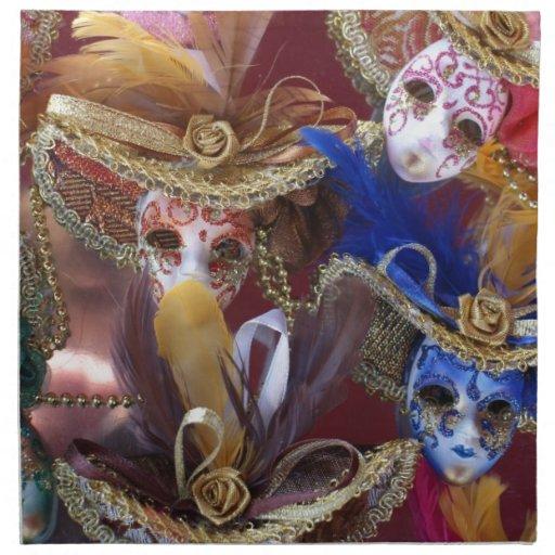 máscaras venecianas miniatura servilletas imprimidas