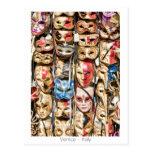 Máscaras venecianas tarjetas postales