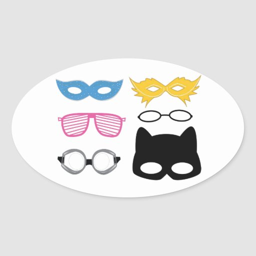 Máscaras y vidrios pegatina ovalada