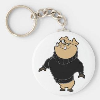Mascot - Hog Black Basic Round Button Keychain