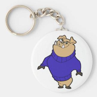 Mascot - Hog Blue Basic Round Button Keychain