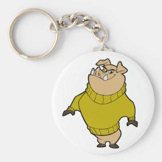 Mascot - Hog Gold Basic Round Button Keychain
