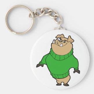Mascot - Hog Green Basic Round Button Keychain
