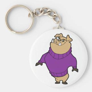 Mascot - Hog Purple Basic Round Button Keychain