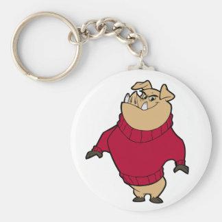 Mascot - Hog Red Basic Round Button Keychain